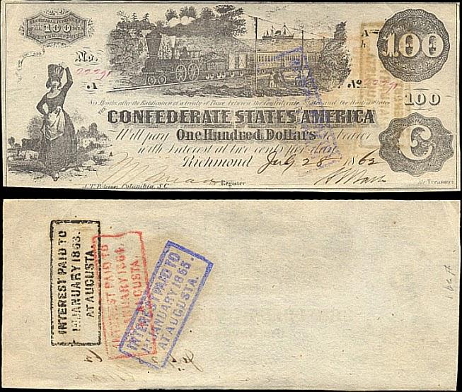 100 долларов Конфедеративных Штатов Америки, Ричмонд, 1863 год