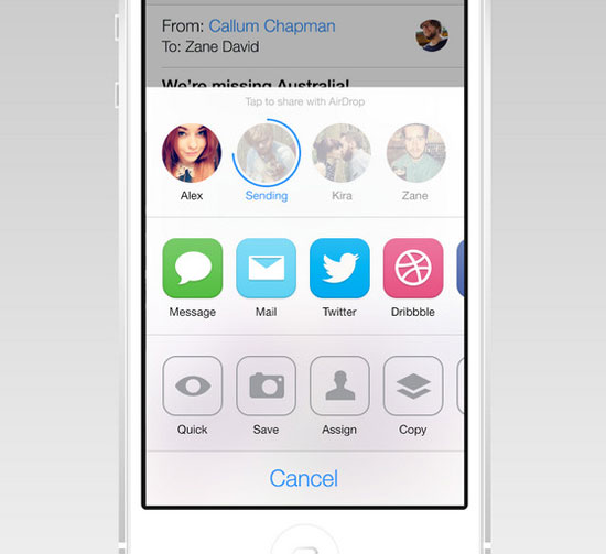 iOS 7 AirDrop/Share Redesign by Zane David