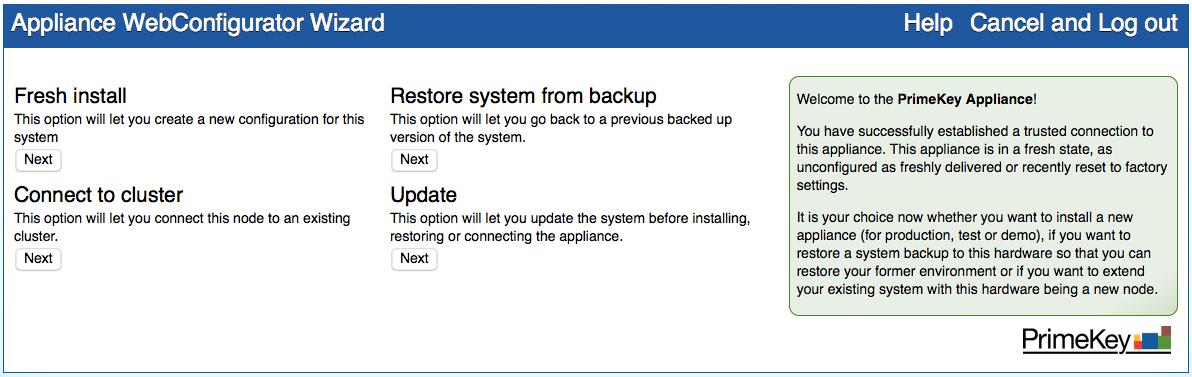 PrimeKey PKI Appliance initial screen after Factory Reset.
