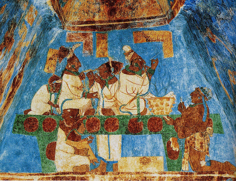 The wife of the king of Bonampak, seated upon a throne, pierces her  title=