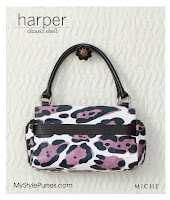 Miche Bag Harper Classic Shell - White, Black and Pink Leopard Purse