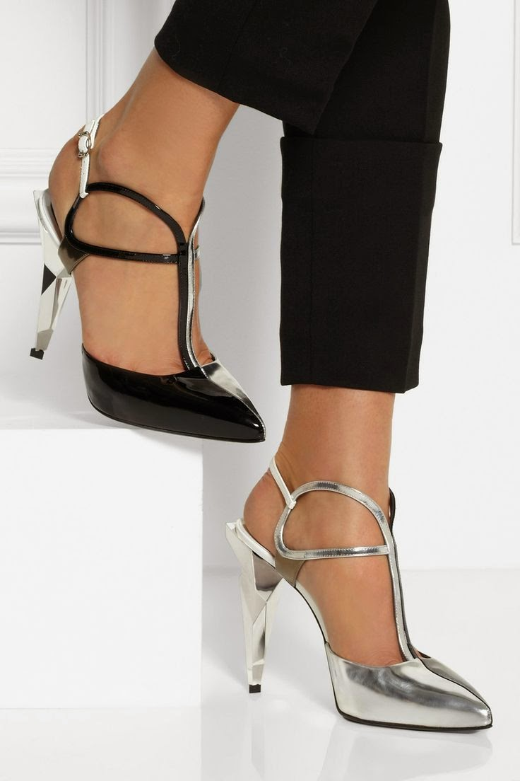 FENDI Tri-tone metallic leather pumps