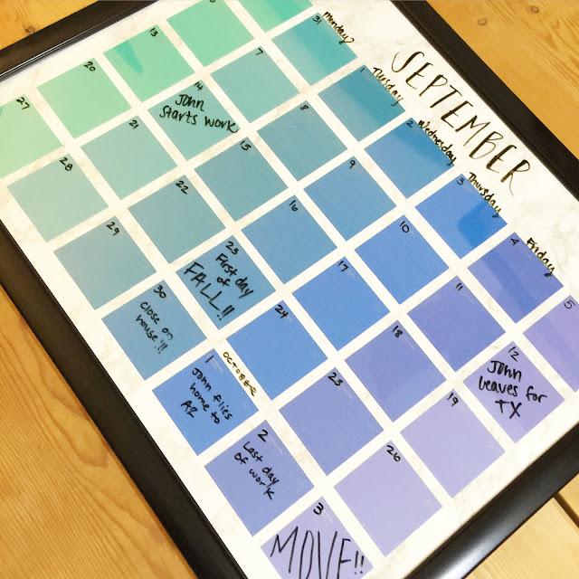 Diy Calendar Background : Lisa loves john diy paint chip calendar