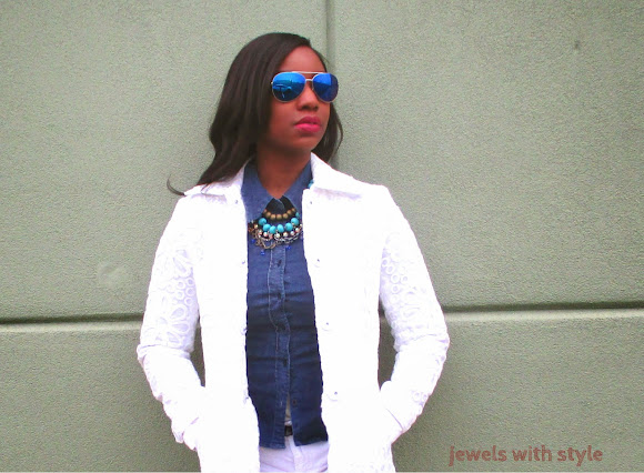 all white outfit, jewels with style, black fashion blogger, white skinny jeans, gold heels, spring wardrobe essentials, white coat, M Renee Design,  blue mirror glasses