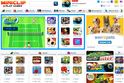 Miniclip homepage