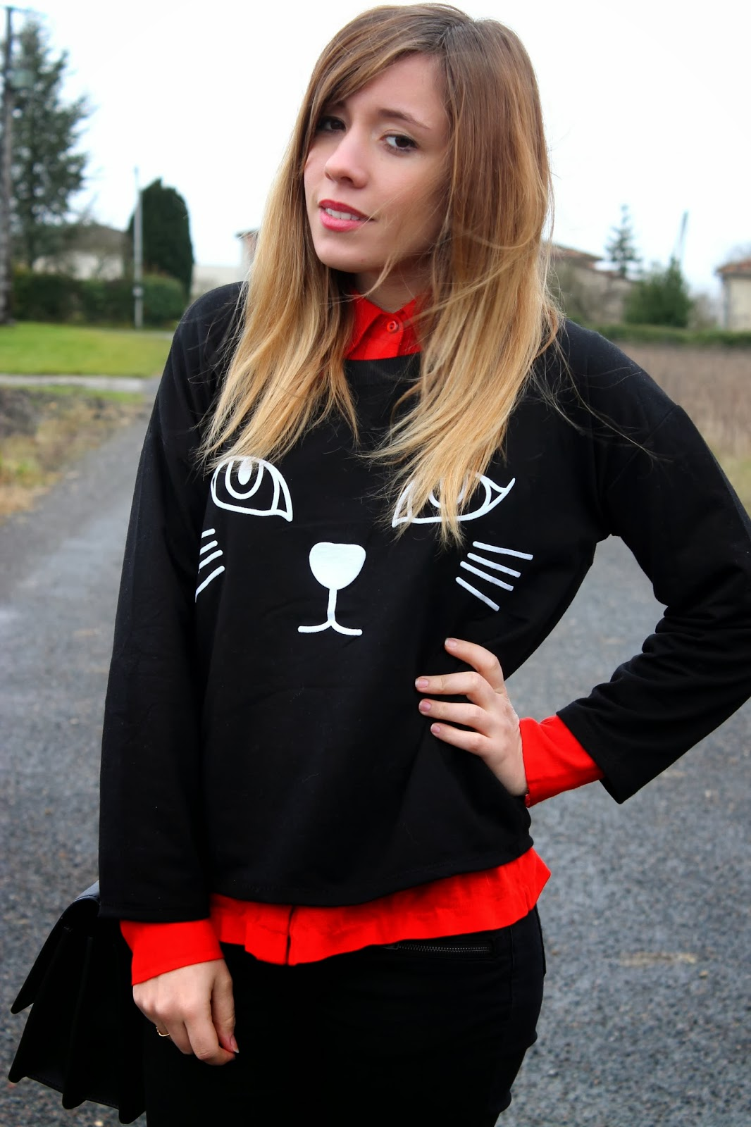 Pull dessin chat