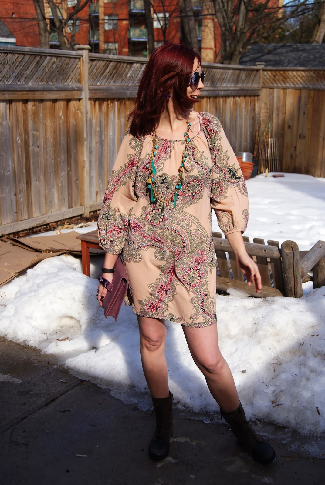 Hippie Chic!: Forever 21 Dress, House of Harlow 1960 Clutch from Winners, Wanted Boots from Marshalls, Fifth Avenue Necklace, fashion, style, blogger Melanie.Ps The Purple Scarf Toronto