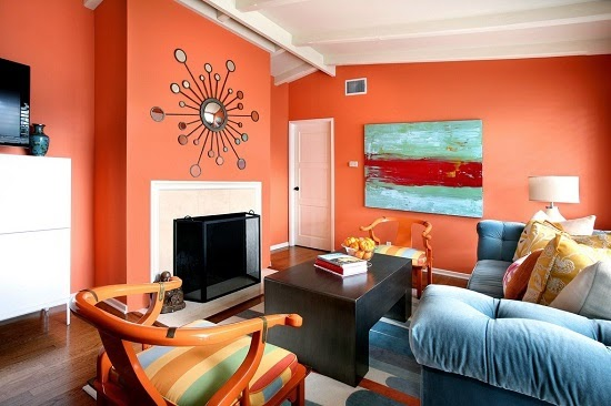 Paredes de sala en color naranja colores en casa for Colores para pintar living