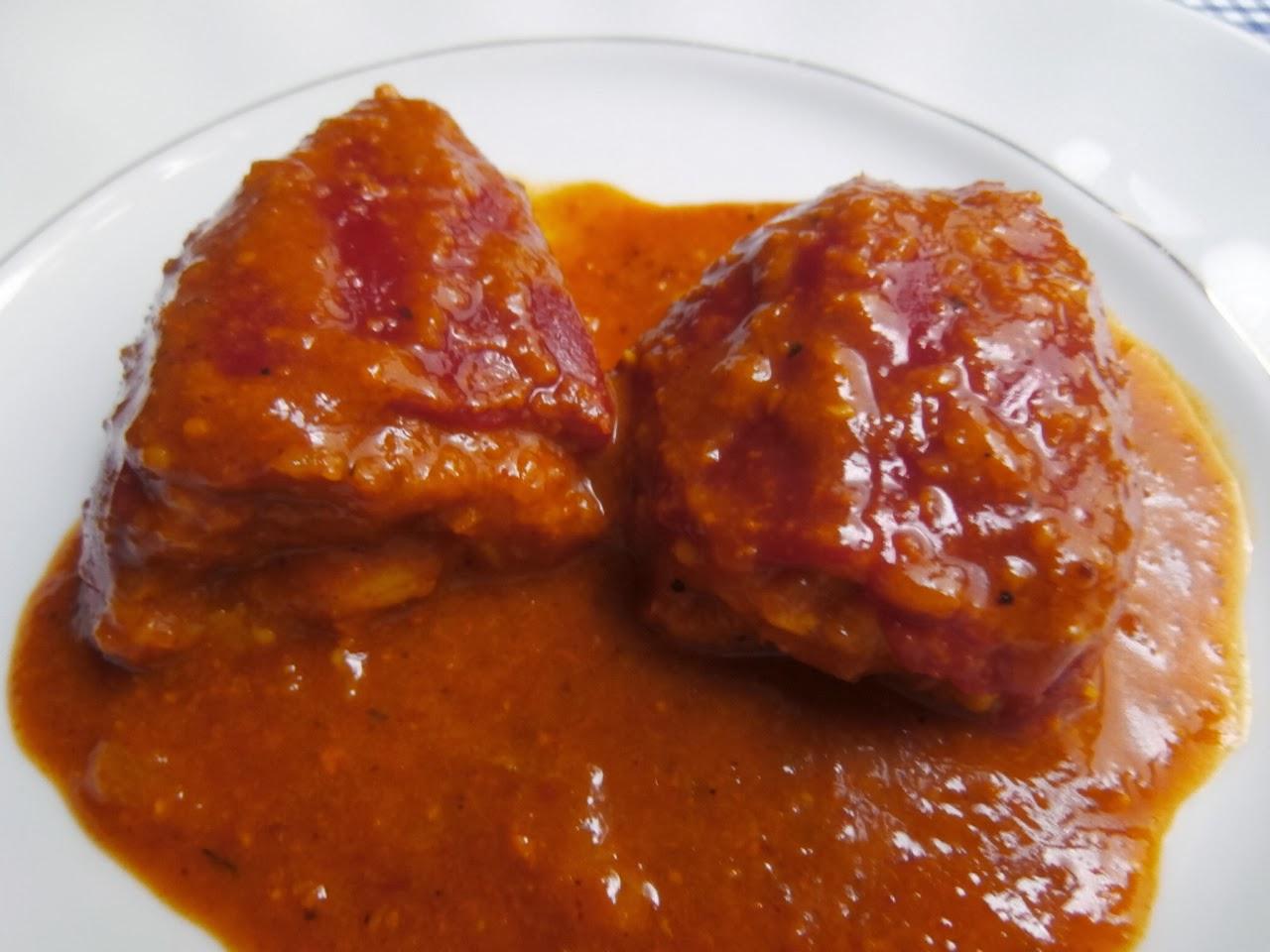 Cocina conchi pimientos rellenos de carne en salsa de ajopollo - Salsa para relleno de carne ...
