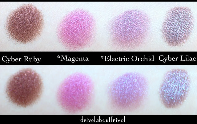 Estee Lauder eyeshadow swatches Cyber Ruby, Magenta, Electric Orchid, Cyber Lilac