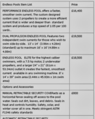 Endless Pools Price List