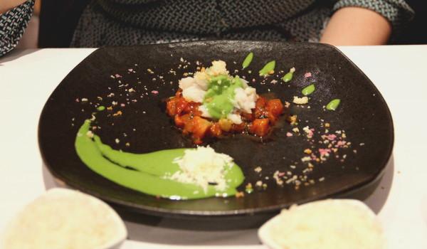 Bacalao sobre malarrab, comida peruana, tampu