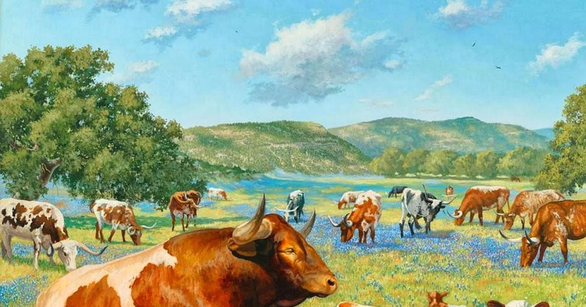Cuadros modernos pinturas y dibujos paisajes con - Cuadros de vacas ...