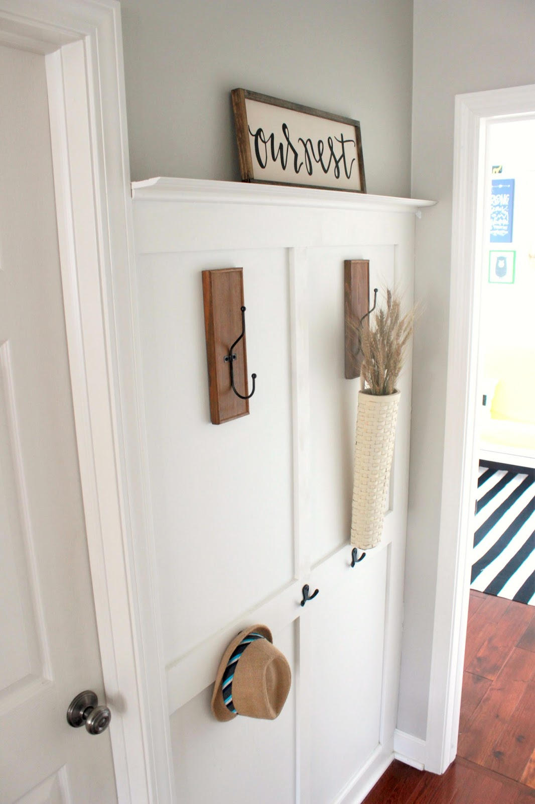 How to Build a Board and Batten Coat Rack Wall - Delightfully Noted