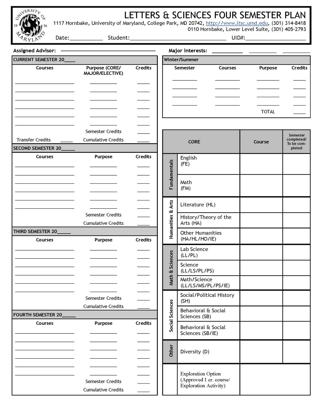college four year plan template