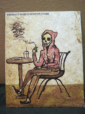 skull skeleton sticker art original hipster wood cigarette