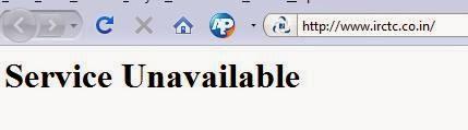 IRCTC service unavailable