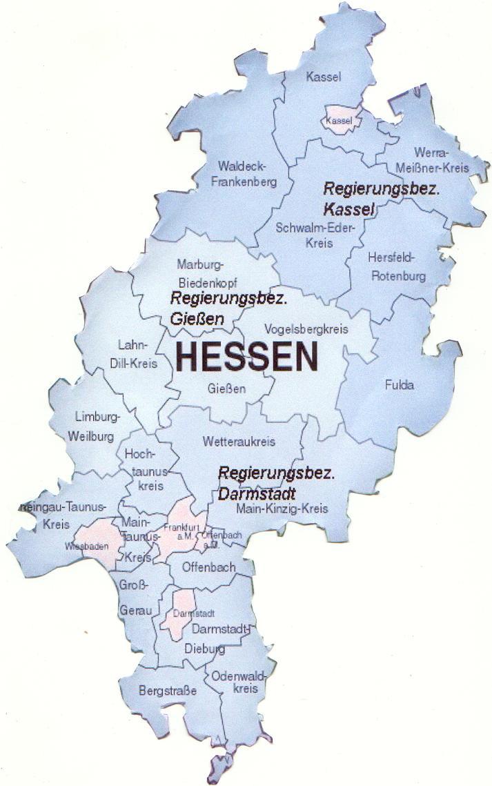 karte der provinz hessen karte von deutschland stadt regionalen politisch. Black Bedroom Furniture Sets. Home Design Ideas