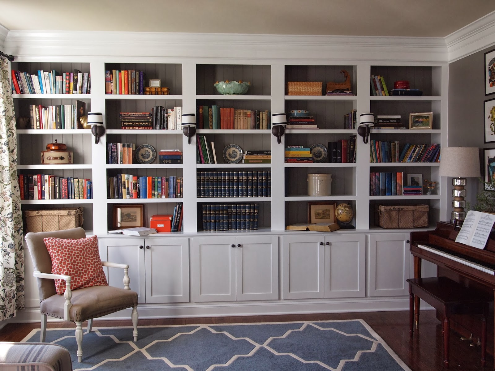Right up my alley library reveal for Living room built ins ideas