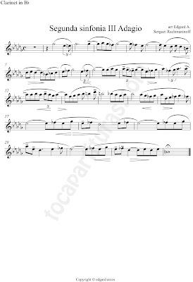 Segunda Sinfonía III Adagio de Sergei Rachmaninoff Partitura de Clarinete en Si bemol por el colaborador Edgar Arcos