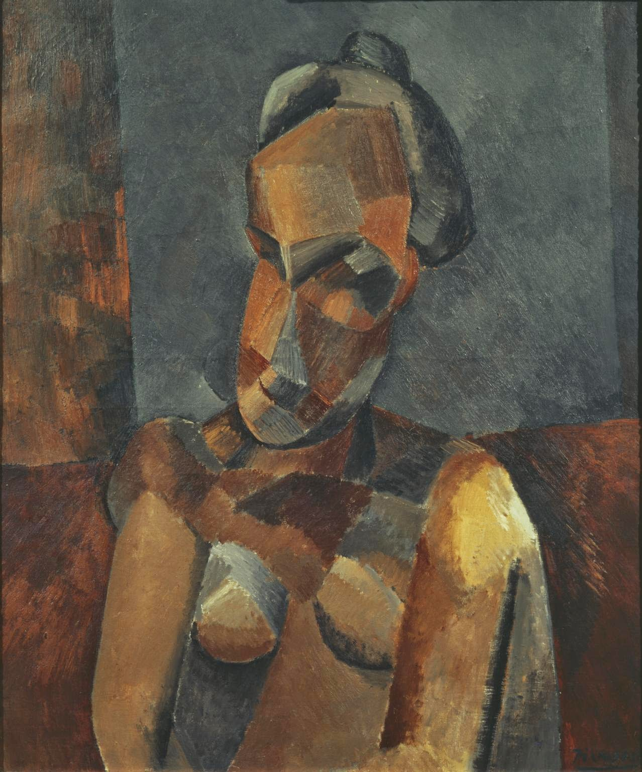 Pablo Picasso, Bust of a Woman and Seated Nude red brown