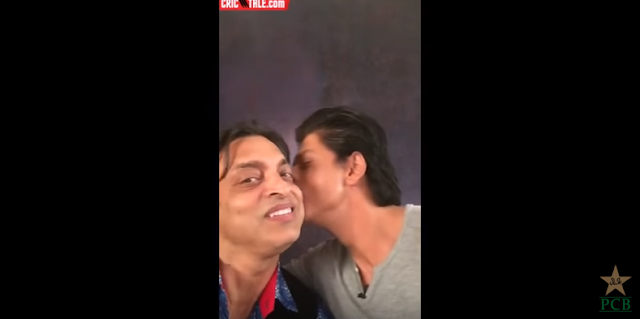 The video selfie shows Shahrukh Khan welcoming Shoaib Akhtar to Twitter. Shoaib Akhtar requests and gets a kiss on his cheek from Shahrukh Khan.  The adorable video was deleted by Shoaib Akhtar for reasons he did not disclose. A few fans had criticised it saying the way he acts coy after Shahrukh Khan plants the kiss - was not a manly thing to do.