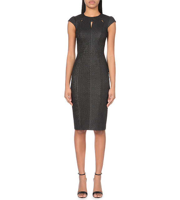 karen millen black fitted dress, cutout karen millen dress,