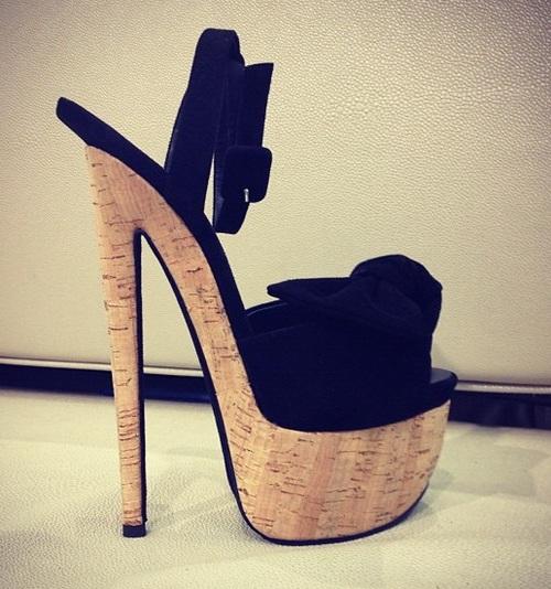 Giuseppe Zanotti black Suede Cork Bow Sandals