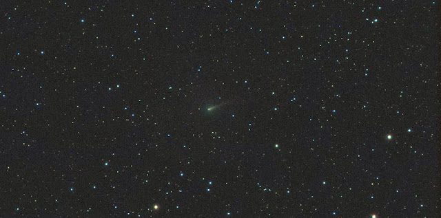 Comet ISON, photographed with a 3-inch (80mm) telescope this morning Sept. 28 shows a circular green coma and head. A short dust tail points to the northwest. Click to enlarge. Credit: Michael Jaeger