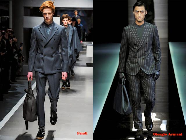 Tendencia otoño_invierno 2013-14 traje sastre con chaqueta doble botonadura: Fendi y Giorgio Armani