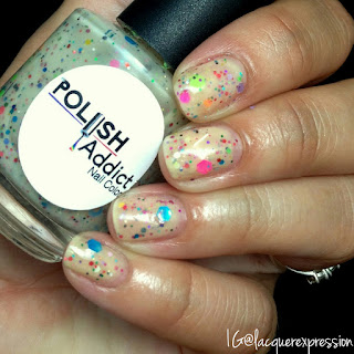 swatch of unicorn disco party nail polish by polish addict nail color