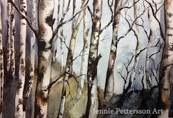 Novemberbjörkar, akvarell.