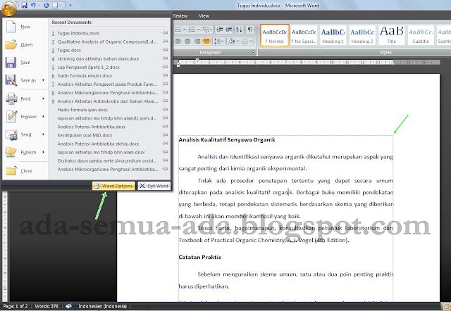 Cara menampilkan garis pinggris (text boundaries) pada lembar kerja Microsoft Office Word 2007