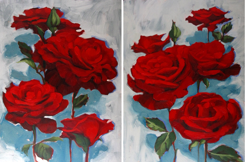 diane hoeptner garden roses oil painting big pretty red roses, Beautiful flower