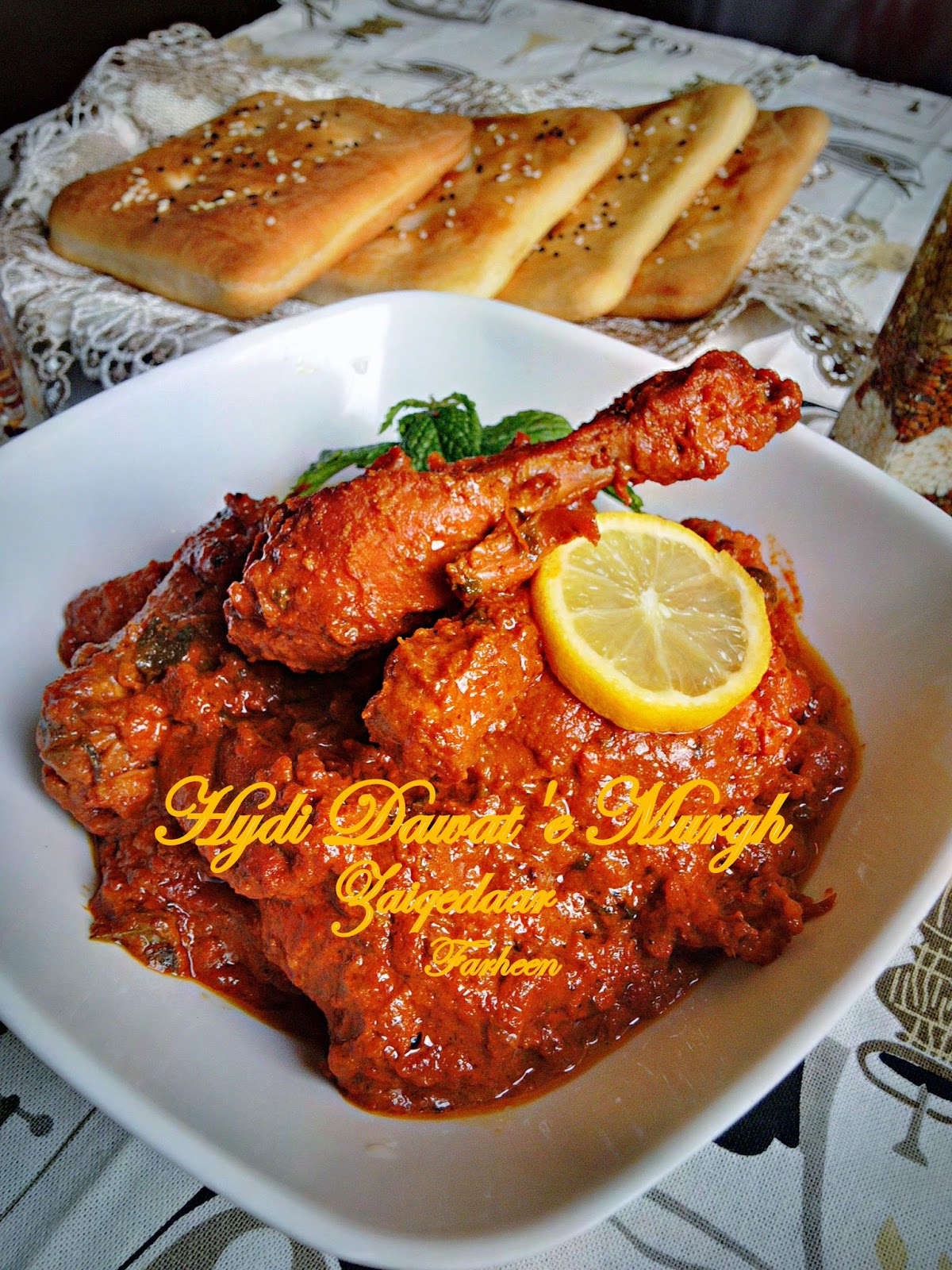 Dum ka chicken hyderabadi dawate murgh garnish with chopped coriander mint leaves and little cream on top forumfinder Choice Image