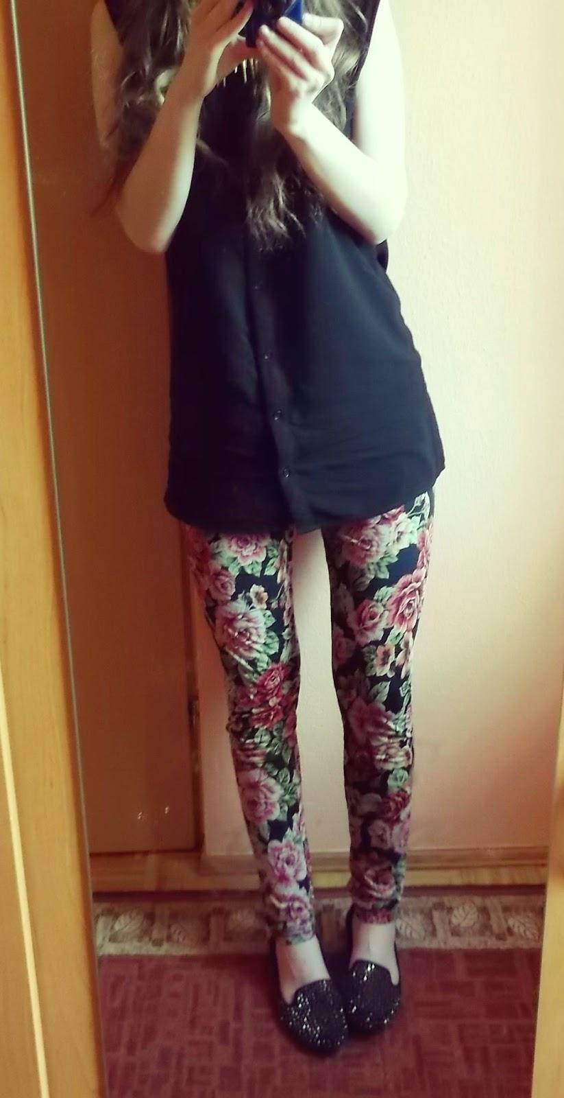 OOTD: legginsy w kwiaty :) + zakupy w Divie