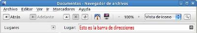 Barra de direcciones en el navegador Nautilus
