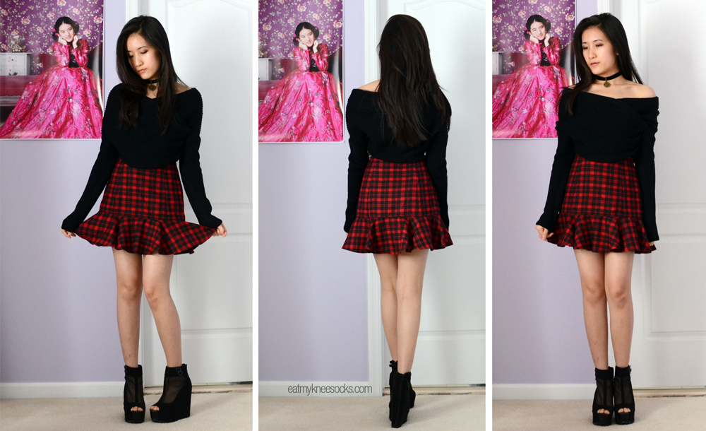 JollyChic's red ruffled plaid skirt and cropped off-shoulder boat neck sweater.