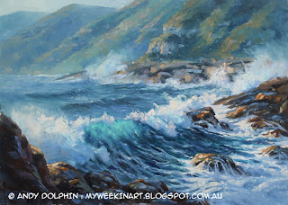 seascape near Albany, WA. Oil painting by Andy Dolphin