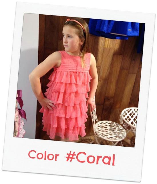 vestido color coral plumeti volantes - Amaya Artesania