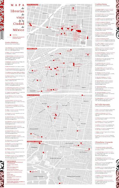 """Mapa de las """"librerías de viejo"""" en la Ciudad de México"""