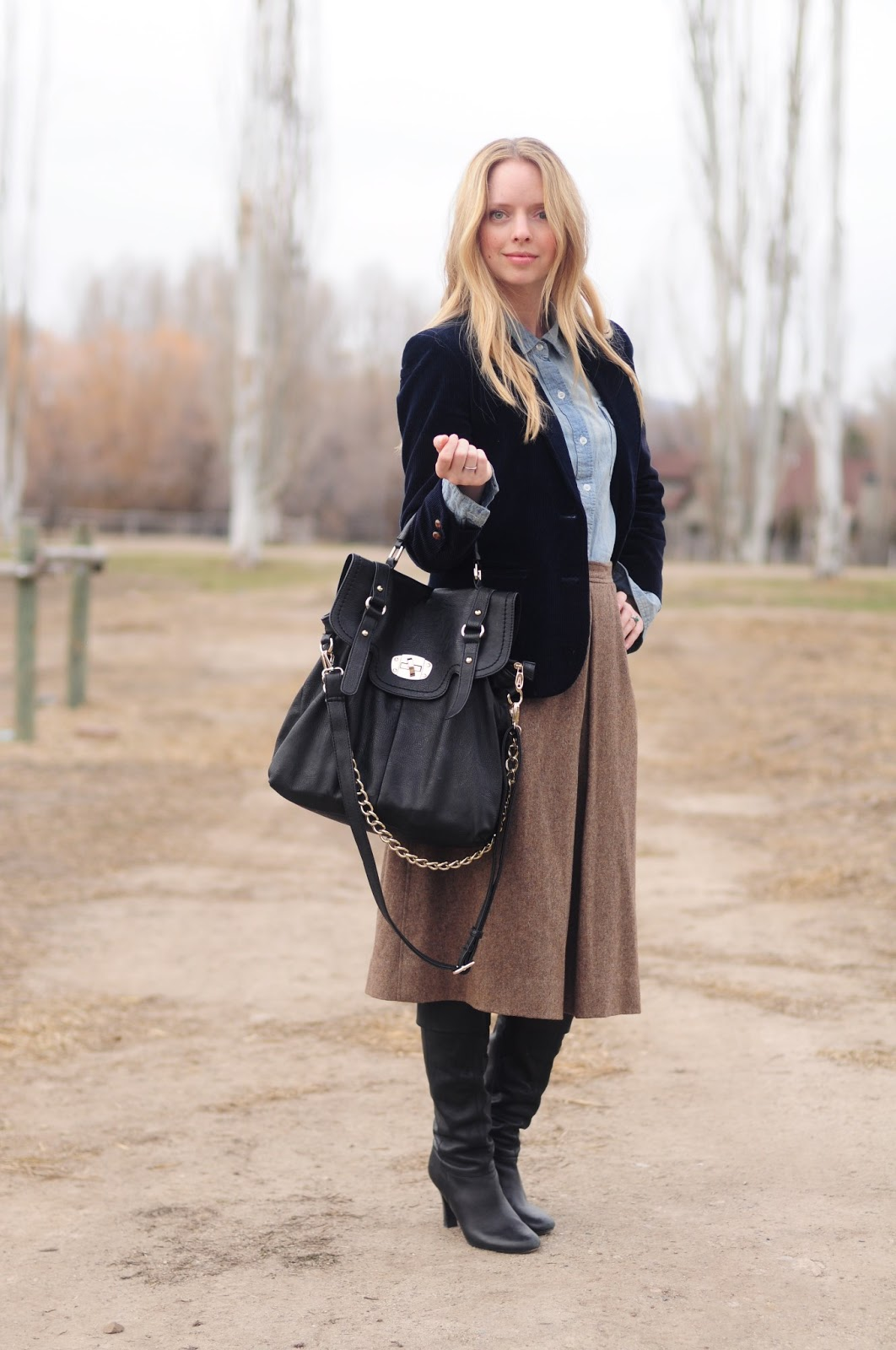 tweed midi skirt, corduroy blazer and denim shirt