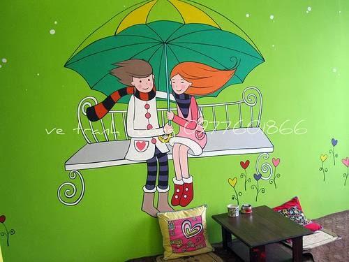 tranh tường quán trà sữa