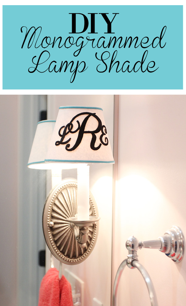Diy monogrammed lamp shade less than perfect life of bliss home diy monogrammed lamp shade mozeypictures Images