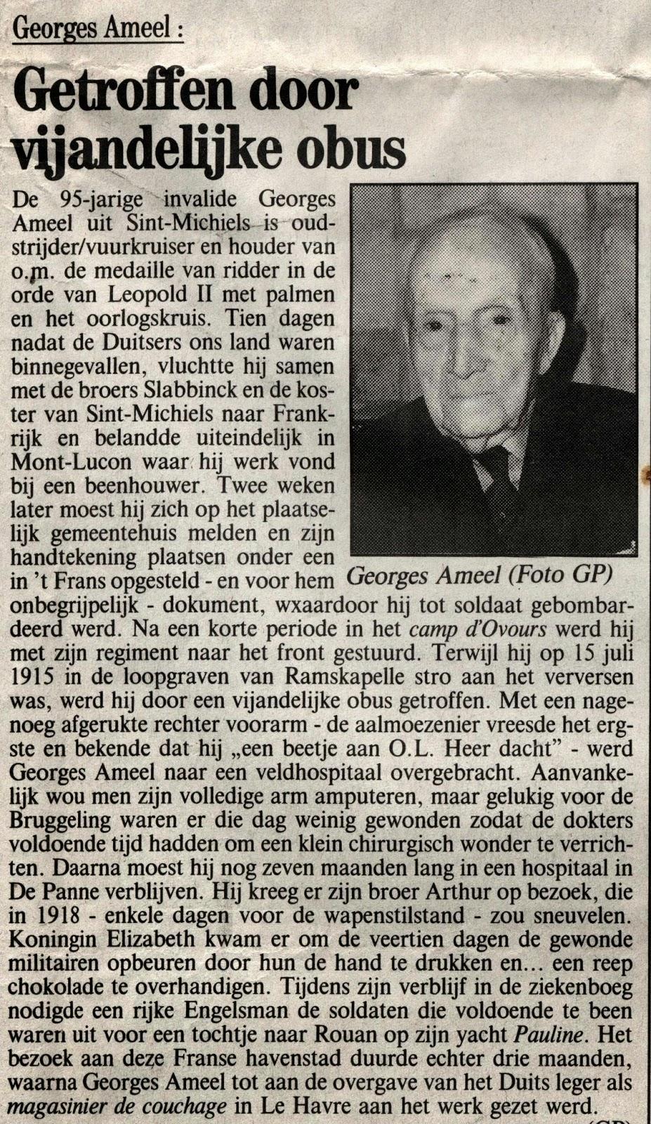 Georges Ameel op 95-jarige leeftijd. KVWV 08-11-1991