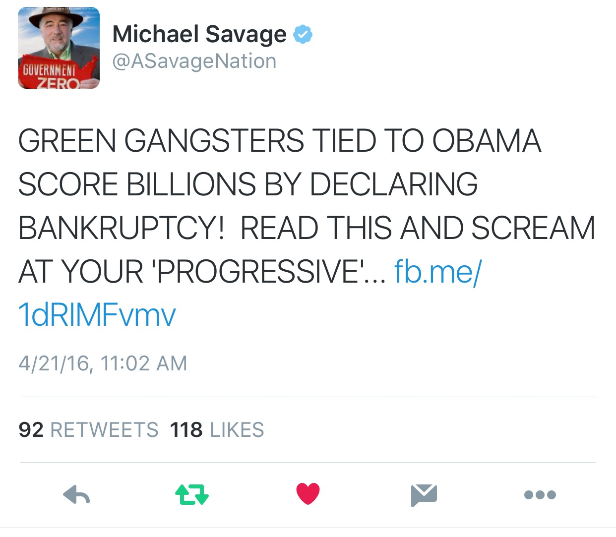 "April 21, 2016: ON THE AIR with Michael Savage slams ""OBAMA's GREEN GANSTERS..."""