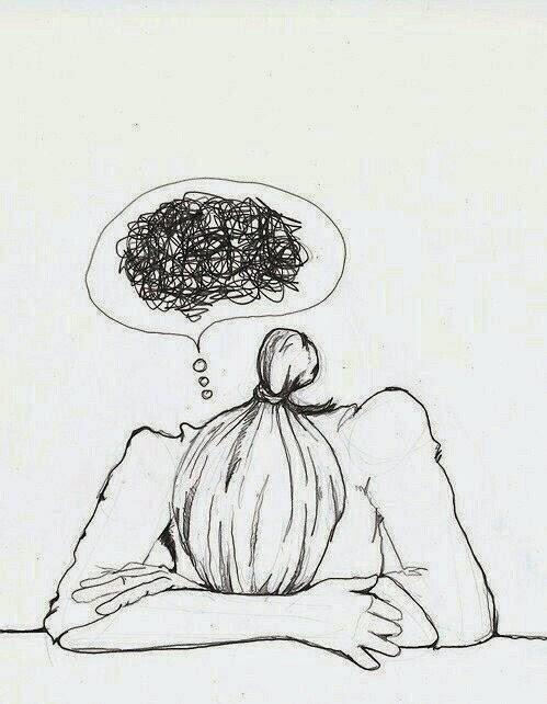 pensamentos, muitos pensamentos, cansaço, cabeça cheia, desenho, ilustração,