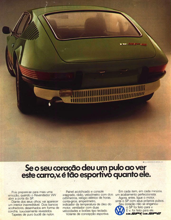Propaganda do SP, da Volkswagen do Brasil, apresentado nos anos 70. Carro esportivo.