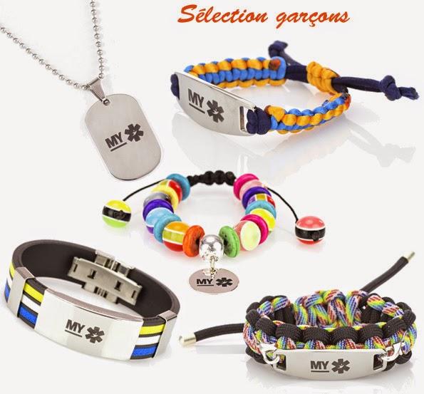 MYPOM - sélection de bracelets d'identification pour les garçons