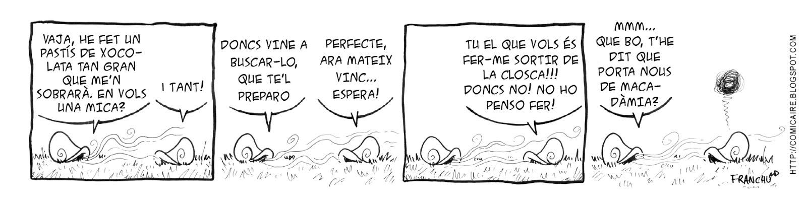 Tira comica 140 del webcomic Cargols del dibuixant Franchu de Barcelona
